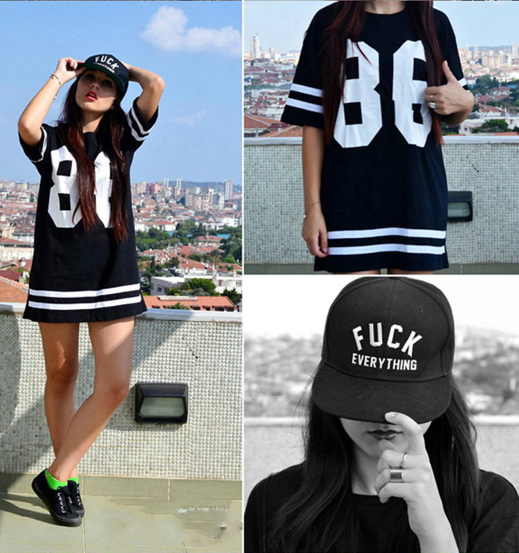 Fashion 2014 Women Celebrity Oversized 86 American Baseball Tee T shirt Top Varsity Short Sleeve Loose Dress Black Size S   XL-in T-Shirts from Apparel & Accessories on Aliexpress.com