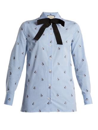 shirt bunny cotton blue top
