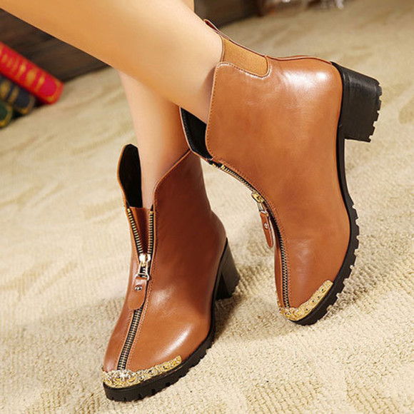 zip shoes boot high heel cool