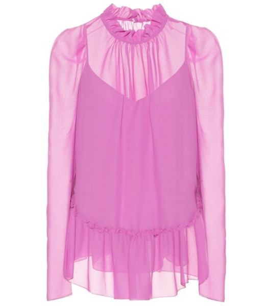See By Chloé Ruffled georgette top in purple