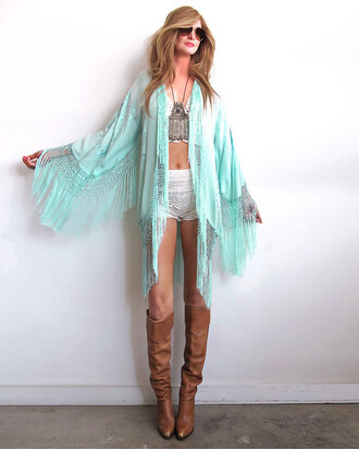 cardigan boho chic gypsy style fringe kimono festival hippie hippie chic mint boho dress boho shirt bohemian lace top blouse