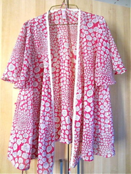 blouse wish robe kimono chiffon pink see through boho bohemian trendy casual chic. Black Bedroom Furniture Sets. Home Design Ideas