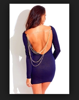 dress navy backless dress chains on back gold chains fitted dress