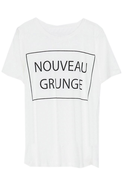 ROMWE | Letters Print White T-shirt, The Latest Street Fashion