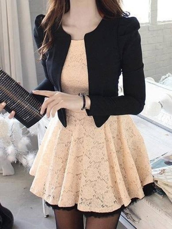 dress jacket lace dress beautiful dress cute dress black white dress white cream dress black blazer lace blouse
