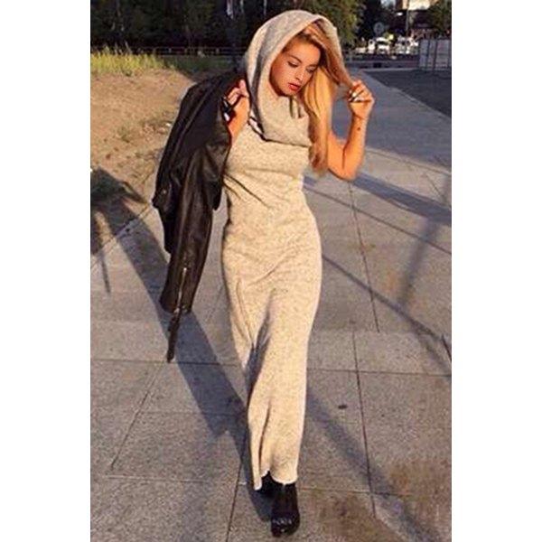 Trendy Hooded Sleeveless Side Slit Solid Color Maxi Hoodie Dress ... bdca8fe0de