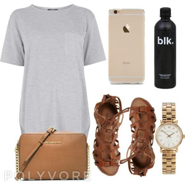 a650d530eedd grey dress pocket dress outfit idea t-shirt dress brown sandals michael  kors bag sandals