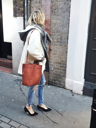 camille over the rainbow blogger scarf leather bag bucket bag ripped jeans winter coat white coat coat jeans shoes bag white oversized coat tumblr kitten heels pointed toe pumps pumps black pumps mid heel pumps denim blue jeans jacket white jacket oversized jacket brown bag