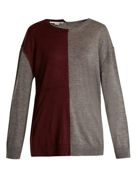 Stella McCartney sweater long wool burgundy