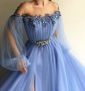dress,blue dress,blue,baby blue,prom,prom dress,prom gown,off the shoulder dress