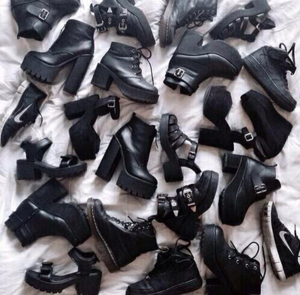 black shoes ankle boots chunky sole DrMartens cut out shoes grunge shoes grunge accessory black boots shoes mid heel boots