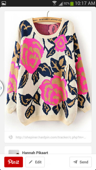 printed sweater roses warm cozy