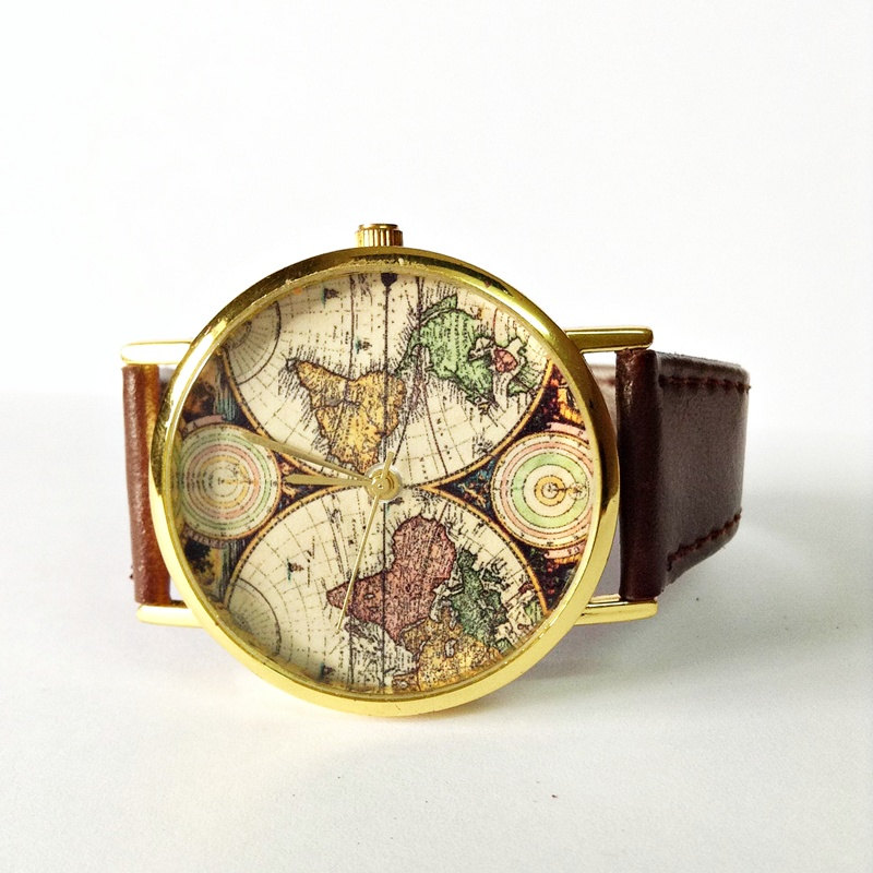 Map Watch, Vintage Style Leather Watch, Women Watches,Mens Watch, Boyfriend Watch, World Map, Brown,