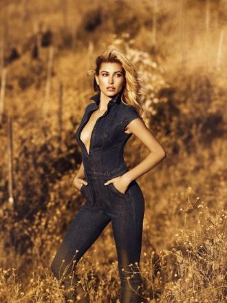 jumpsuit denim jeans denim shirt denim overalls hailey baldwin model plunge v neck guess