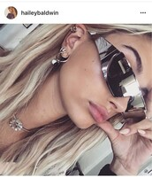 sunglasses,silver,sexy,hailey baldwin