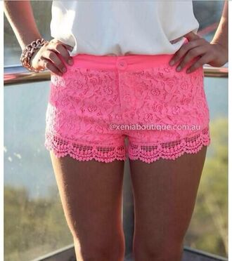 shorts clothes girly lace lace shorts pink pink lace shorts cute crochet fashion hot pink scalloped laced neon pretty summer shirts