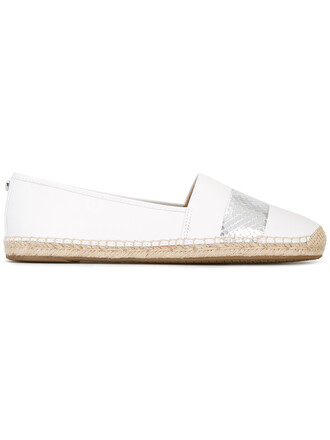 women espadrilles leather white shoes