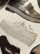 shoes,charlie may,flatform,platform shoes,cleated sole,white,plimsoles,plimsolls