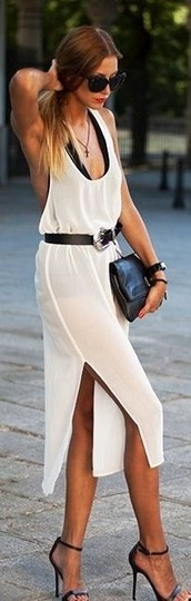 dress,midi dress,leg splits,white dress,halter neck,summer,mesh,white casual sheer dress