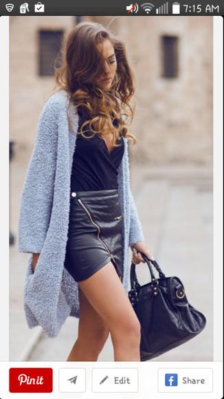 skirt mini skirt pleather pleather skirt zipper