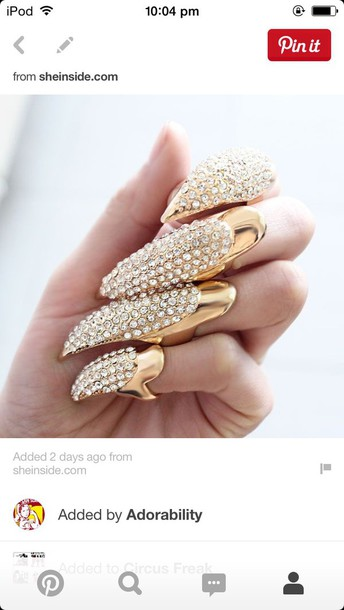 jewels gold rhinestones ring