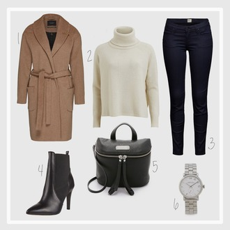 simple et chic blogger jeans turtleneck camel coat heel boots black leather bag silver watch fall coat