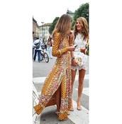 dress,boho,maxi dress,slit dress,floral,bohemian,floral maxi dress,boho dress