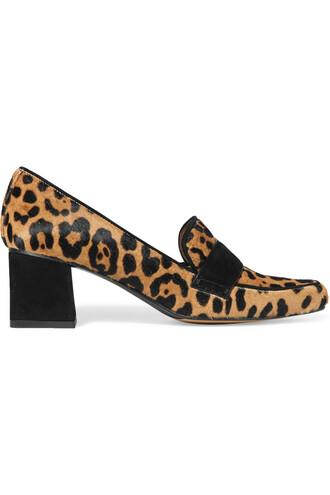 hair pumps suede print leopard print shoes