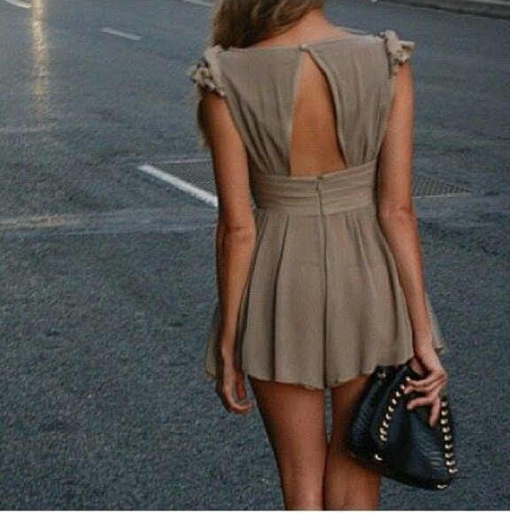 dress short black cute beige brown clutch
