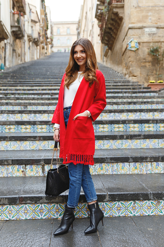 the mysterious girl blogger cardigan sweater jeans bag shoes red cardigan black bag handbag ankle boots high heels boots