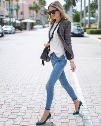 jacket tumblr blazer plaid flannel top white top denim jeans blue jeans ripped jeans skinny jeans pumps pointed toe pumps high heel pumps bag black bag tassel sunglasses black sunglasses fall outfits