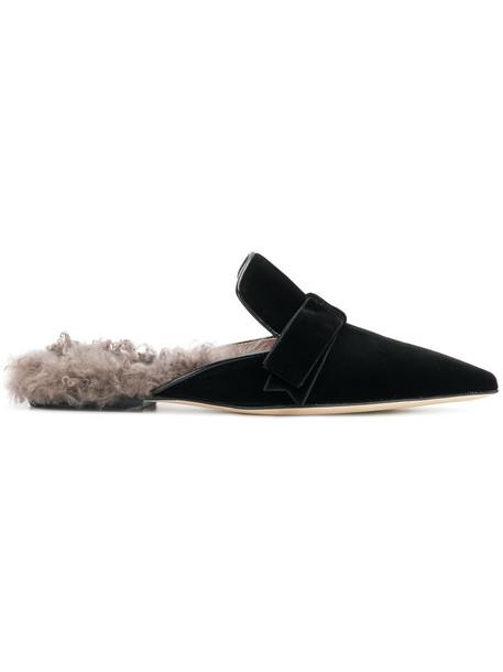 Gianna Meliani women soft slippers leather black velvet shoes