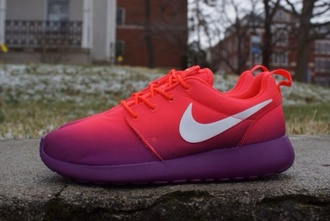 shoes nike roshes floral ombre purple