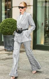 pants,suit,plaid,rosie huntington-whiteley,sandals,model off-duty,grey,spring outfits,jacket