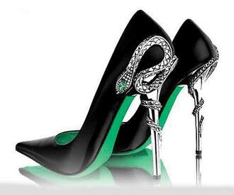 shoes pumps green snake slytherin harry potter silver pointed toe black black heels pointed toe pumps
