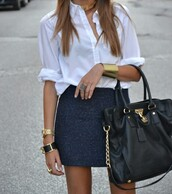 bag,purse,big purse,skirt,black skirt,navy bag,navy tweed skirt,white blouse,gold cuff,shirt