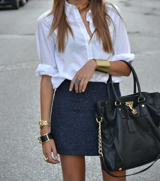 bag purse big purse skirt black skirt navy bag navy tweed skirt white blouse gold cuff shirt