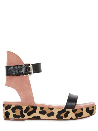 sandals wedge sandals leather suede rose black shoes