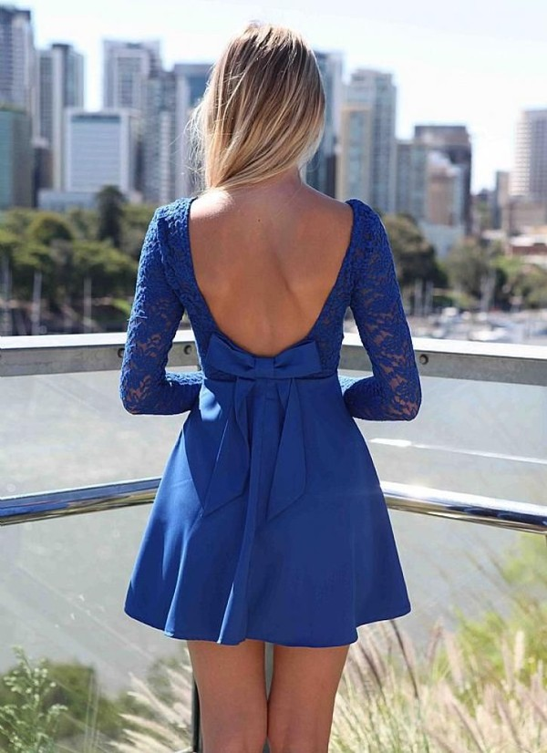 dress lace dress Bow Back Dress bow bow back skater dress