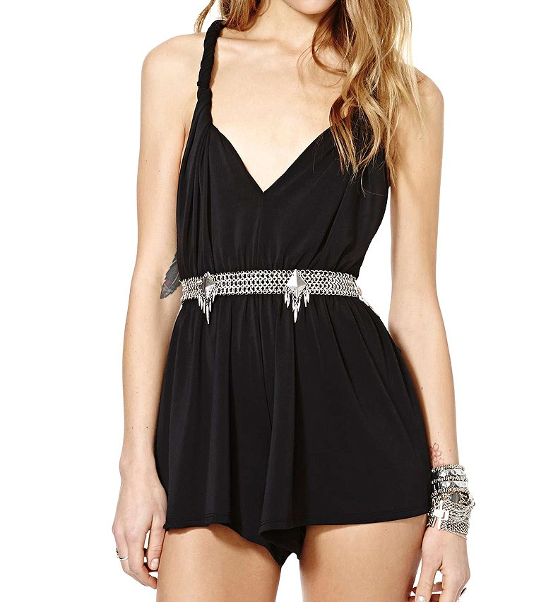 Open Back Playsuit With Twisted Straps