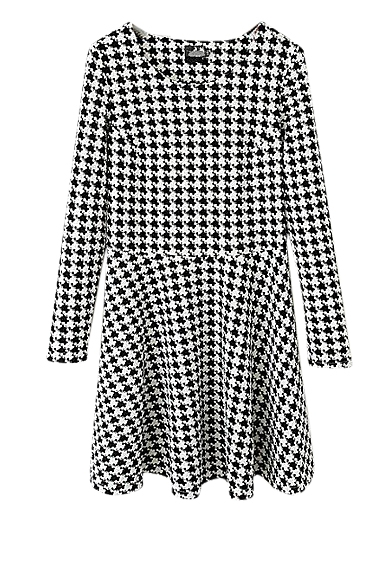 Houndstooth round neck high waist pleated dress