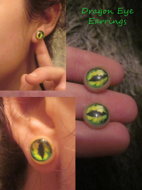 jewels earrings green eyes creature creepy frog/dragon fly halloween accessory