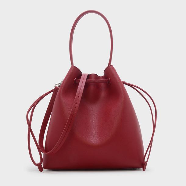 basic drawstring bag shoulder bag red