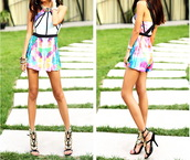 romper,x back,jumpsuit,jumpersuit,shorts,watercolour print,abstract,abstract print,sheinside