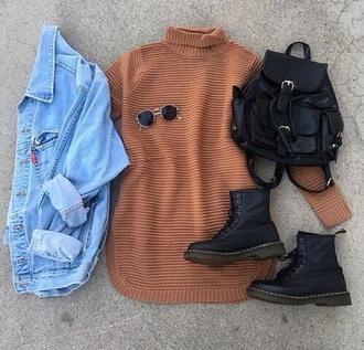 dress sweater turtleneck oversized turtleneck sweater vintage sunglasses shirt turtleneck sweater turtleneck dress bag backpack denim jacket shoes glasses color/pattern jeans levi's purse bags and purses