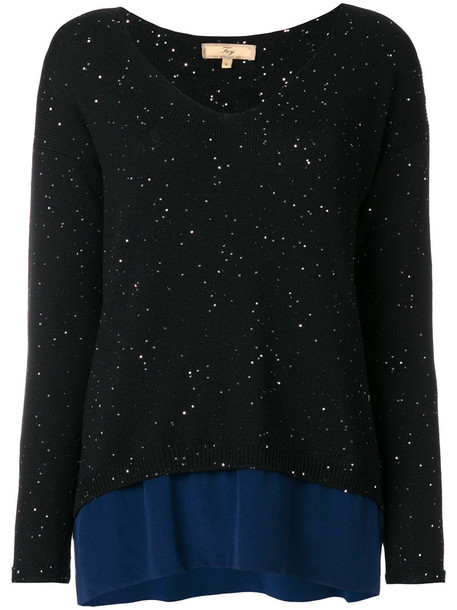 jumper women black silk wool sweater