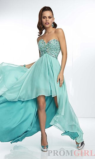 Prom Dresses, Celebrity Dresses, Sexy Evening Gowns - PromGirl: Strapless Sweetheart High Low Dress