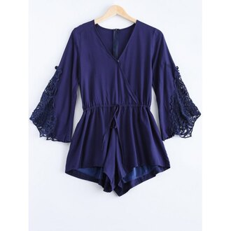 romper blue navy summer trendy fashion long sleeves spring trendsgal.com