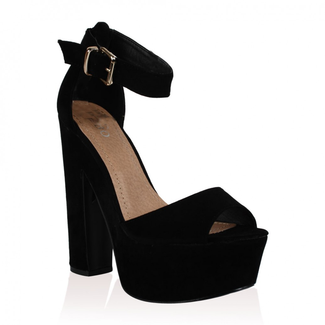 Black Suede Platform High Heel Sandals