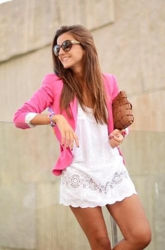 jacket neon pin white dress